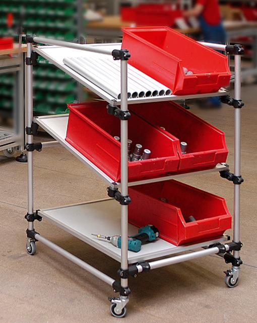 carrito para material con uniones de plstico para tubos